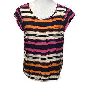 Cynthia Rowley Striped Cap Sleeve Blouse